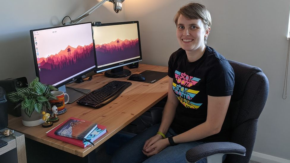 Sarah Caisley at her home desk