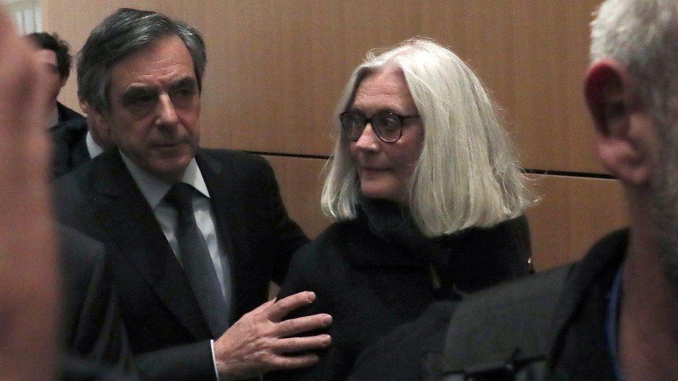 François Fillon and Penelope Fillon appear in court in Paris