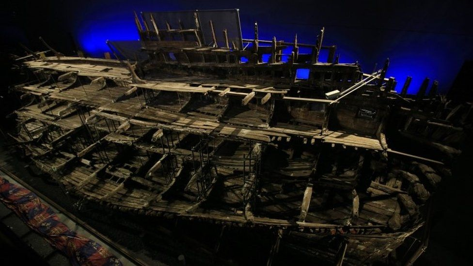 The remains of the Mary Rose at the Portsmouth Historic Dockyard