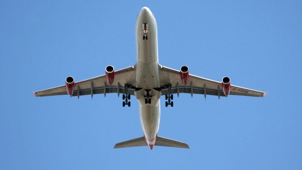 Flight mid air in sky