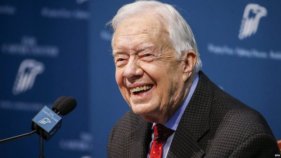 Former US President Jimmy Carter gives the media an update on his recent cancer diagnosis at the Carter Center in Atlanta, Georgia, USA, 20 August 2015