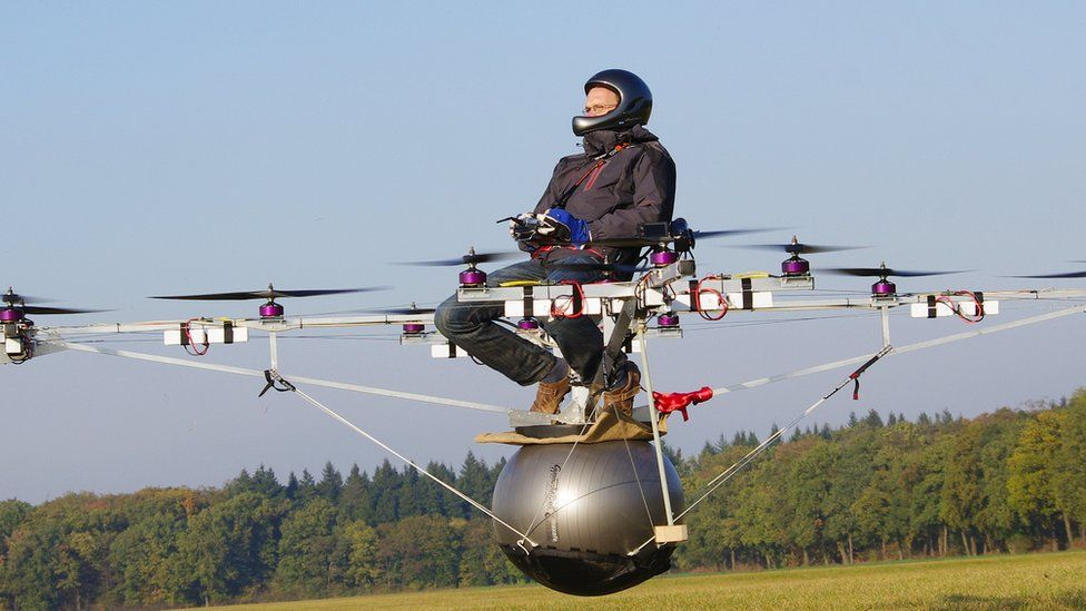 Man testing a Volocopter