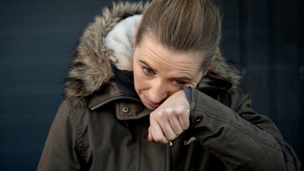 Danish MP Mette Frederiksen weeping, 26 Nov 20