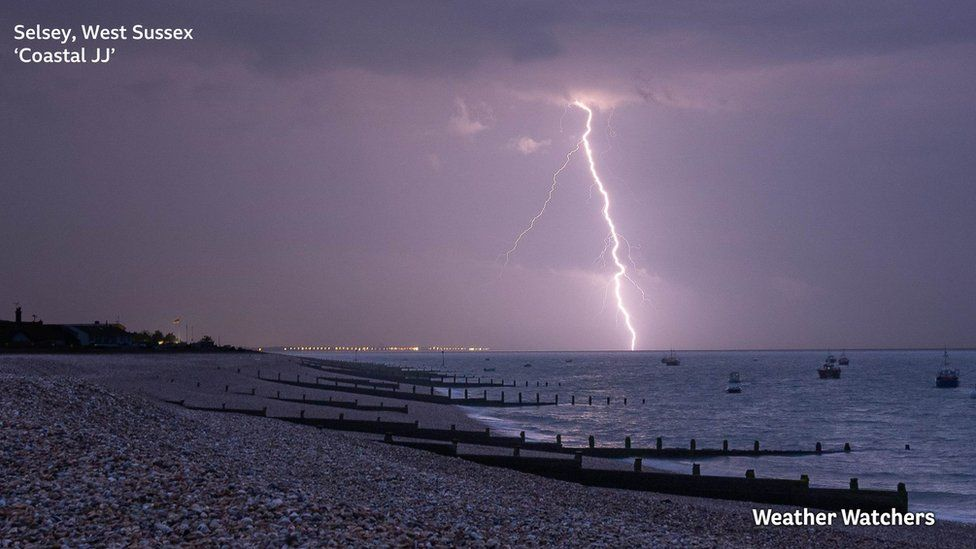 A lightning strike in Selsey, West Sussex