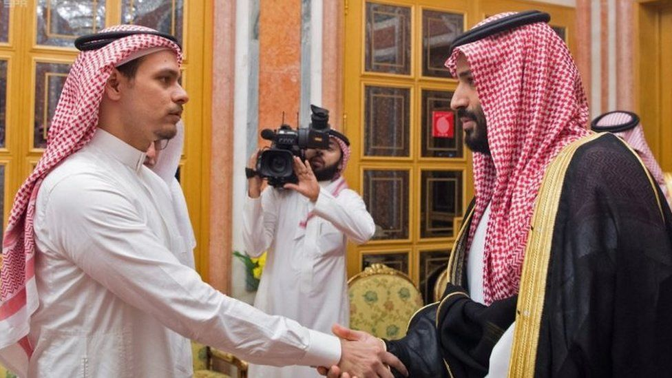 A handout picture provided by the Saudi Press Agency (SPA) on October 23, 2018 shows Saudi Crown Prince Mohammed bin Salman meeting with family members of slain journalist Jamal Khashoggi in Riyadh
