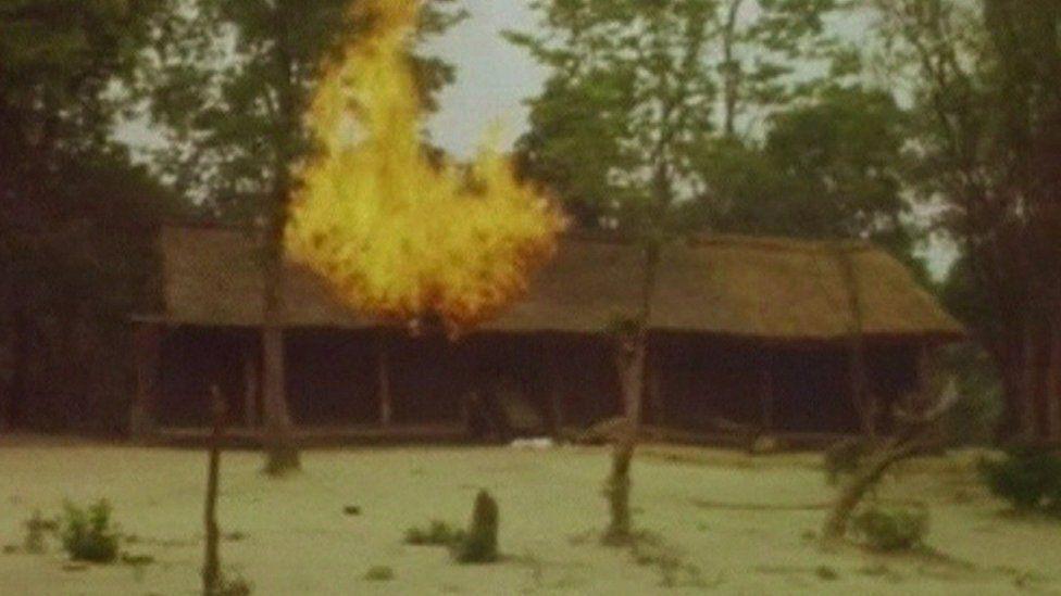 Burning house in Matabeleland