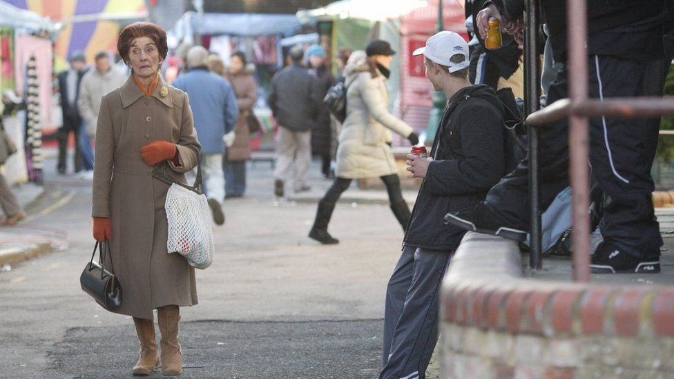 Dot Cotton (JUNE BROWN) and supporting artists Tx: BBC One 17th January 2008 As Dot is on her way to the tube, Tegs and his gang tease and jeer at her. Dot feels vulnerable and terrorised. Shirley warns the youths off while Dot hurries away visibly shaken