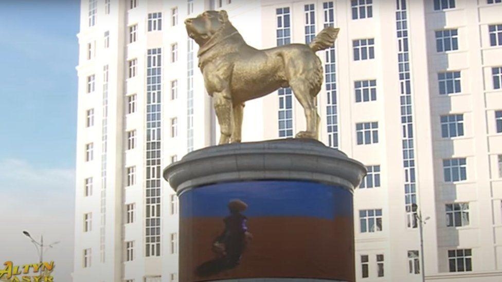 Turkmenistan leader unveils giant gold dog statue - BBC News
