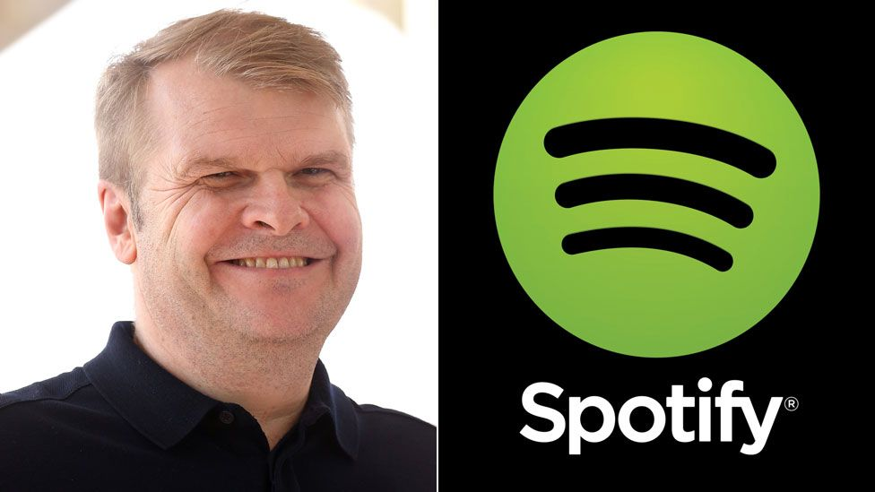 Rob Stringer and Spotify logo
