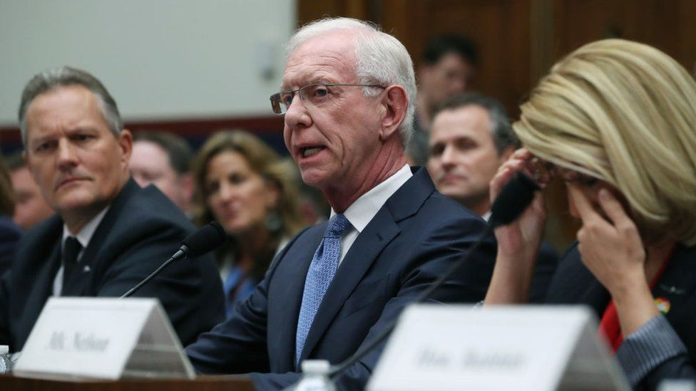 """Captain Chesley """"Sully"""" Sullenberger testifies during a House Transportation and Infrastructure Committee hearing on the status of the grounded Boeing 737 MAX in June 2019"""