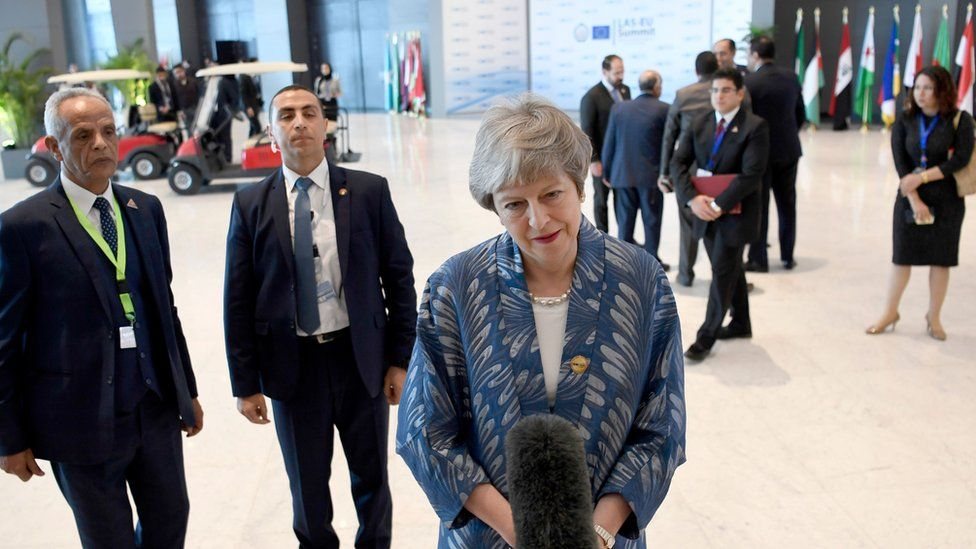 Prime Minister Theresa May attending the EU-League of Arab States Summit in Sharm El-Sheikh