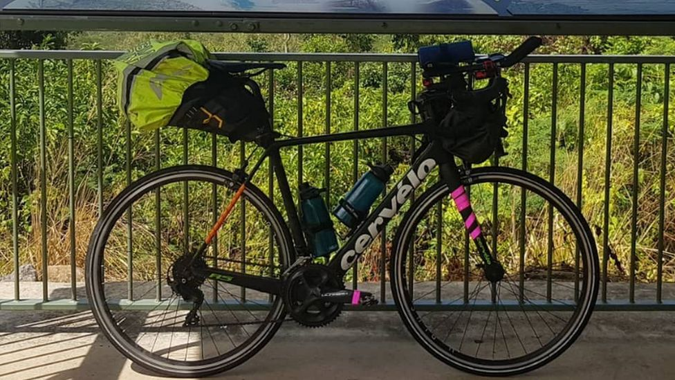 Charlie's stolen bike against a fence