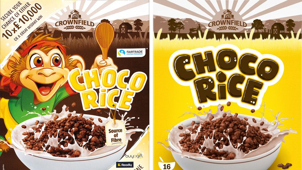 The old brand of Lidl's Choco Rice - featuring a cartoon monkey - and the new brand