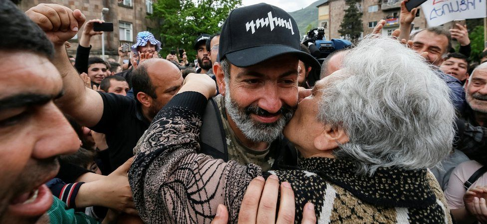 Nikol Pashinyan as he arrives at a rally in the town of Ijevan, Armenia April 28, 2018.