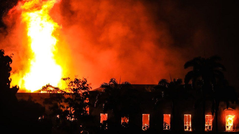 A fire burns at the National Museum of Brazil on 2 September 2018 in Rio de Janeiro