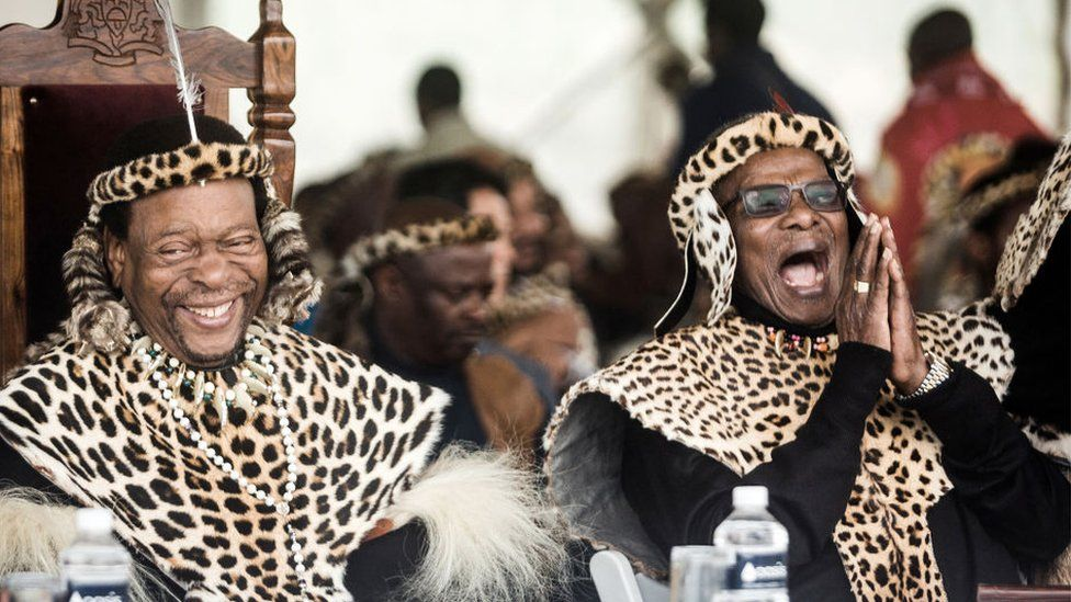 Zulu King Goodwill Zwelithini ka Bhekuzulu (L) and senior Prince of the Zulu Nation and former leader of the Inkatha Freedom Party ( IFP ) Prince Mangosuthu Buthelezi (R) join thousands of people to commemorate King Shaka's Day Celebration near the grave of the great Zulu King Shaka at Kwadukuza, some 98 kilometres north of Durban, on September 24, 2019.