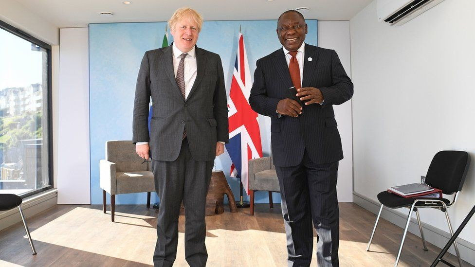 Prime Minister Boris Johnson with South African President Cyril Ramaphosa