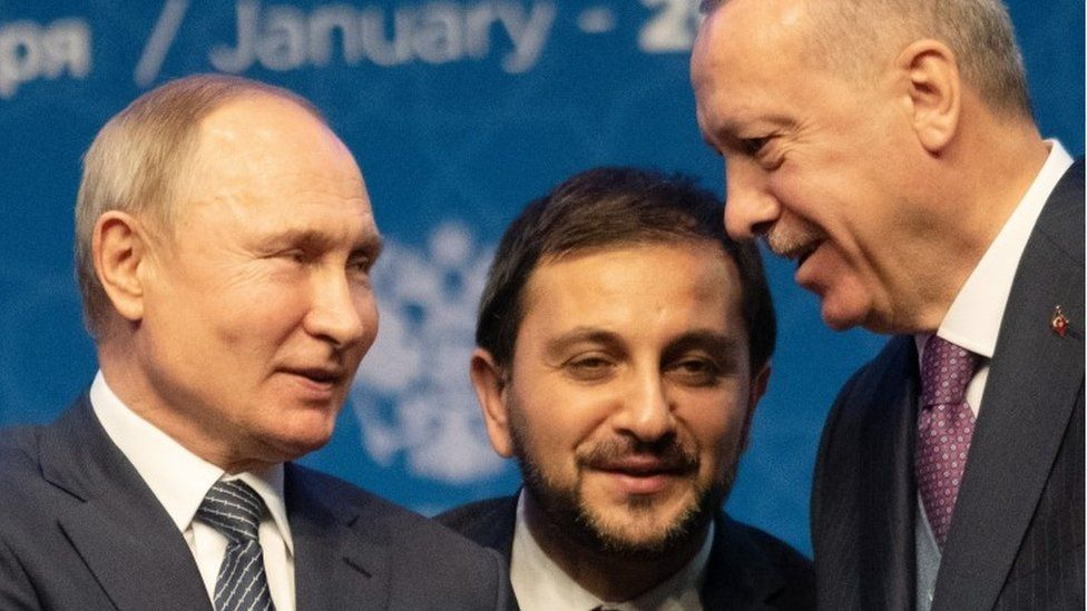 Turkish President Recep Tayyip Erdogan and Russian President Vladimir Putin attend the opening ceremony of the Turkstream Gas Pipeline Project on January 08, 2020 in Istanbul, Turkey