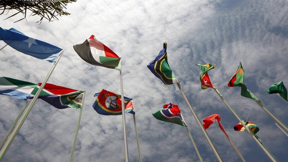 African flags flying in Kampala, Uganda, at an African Union summit - 2010