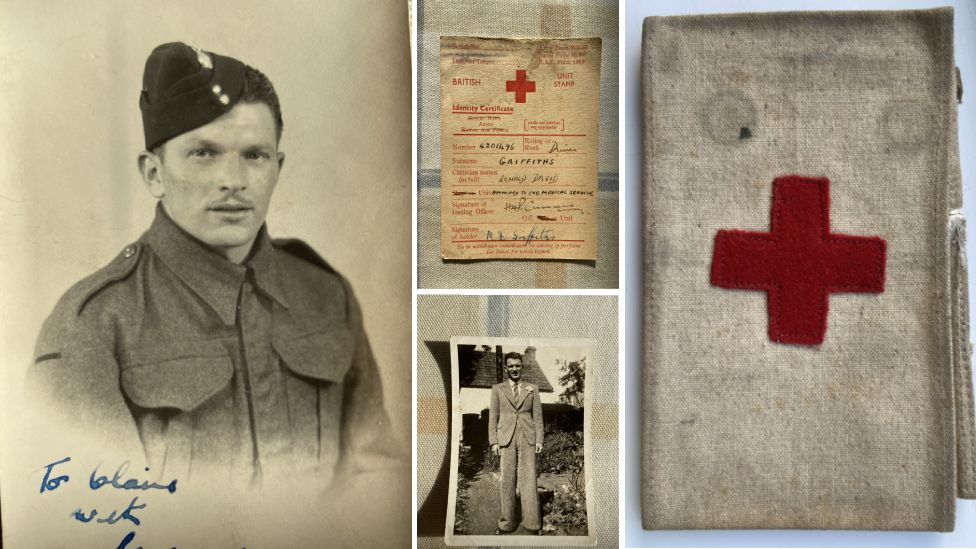 An image of Ron Griffiths, with other documents and items from his war-time past