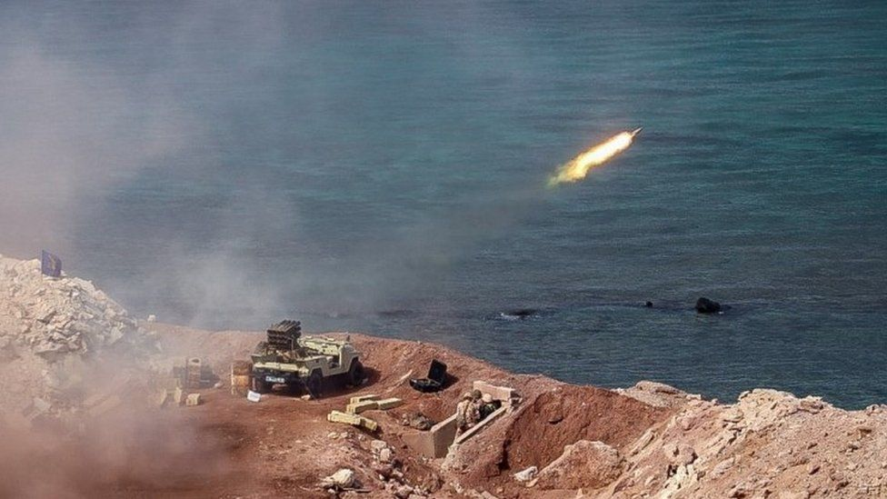 A missile is fired from land