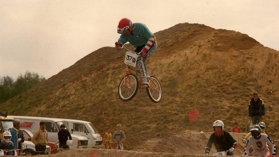Tim Gregory at the BMX track at Costessey in 1985