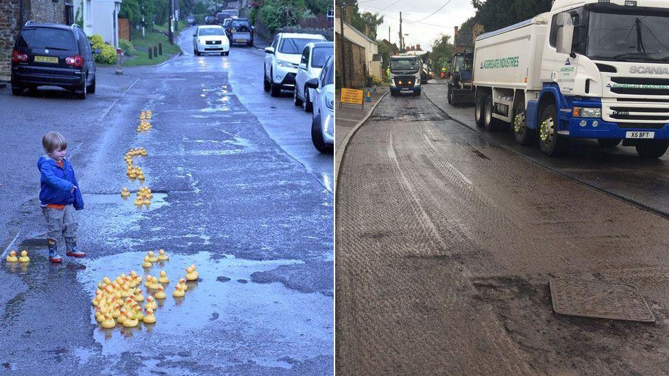 Repaired Steeple Aston road
