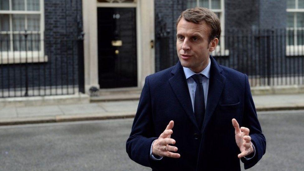 Emmanuel Macron in Downing Street