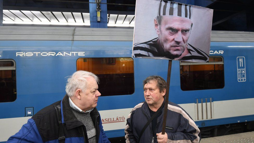 An opponent of the former Polish Prime Minister and European Council President Donald Tusk at the Central Railway Station in Warsaw, Poland, 19 April 2017
