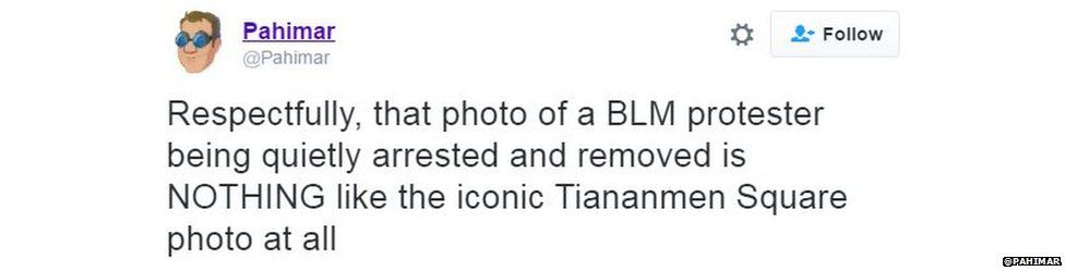 Tweet saying: Respectfully that picture is NOTHING like Tiananmen Square picture at all.