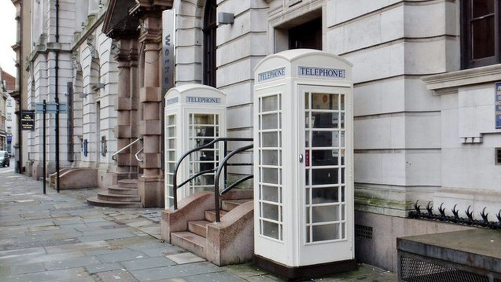 White phone boxes in Hull