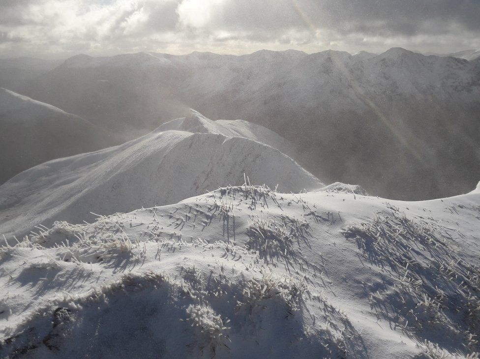 Winter conditions in Glen Shiel above the Cluanie Inn on Ciste Dhubh