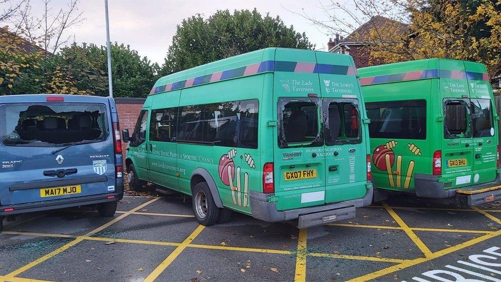 damaged minibuses