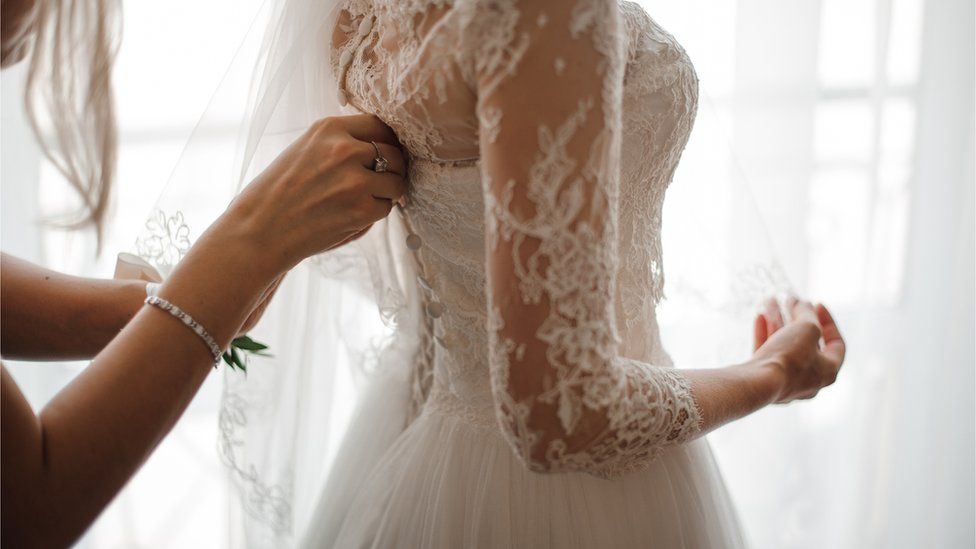 A generic shot of a wedding dress