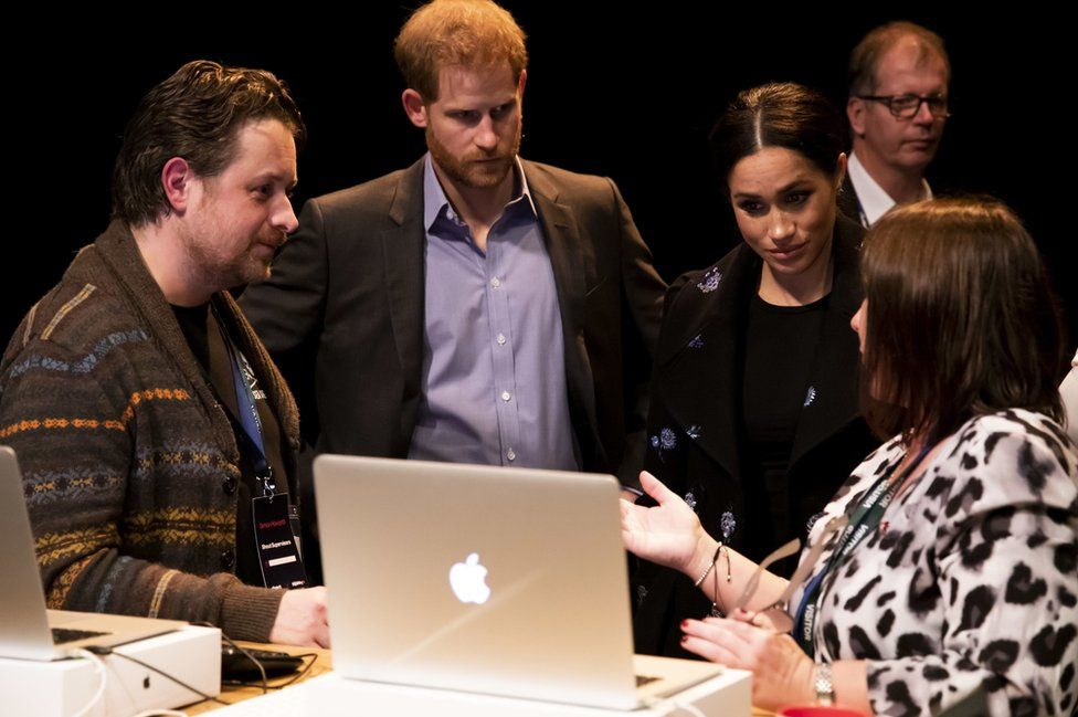 The Duke and Duchess of Sussex meet volunteers working with Shout