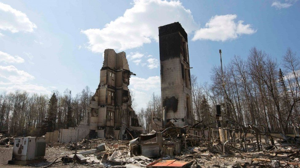 Fire damage in Fort McMurray, Alberta, Canada