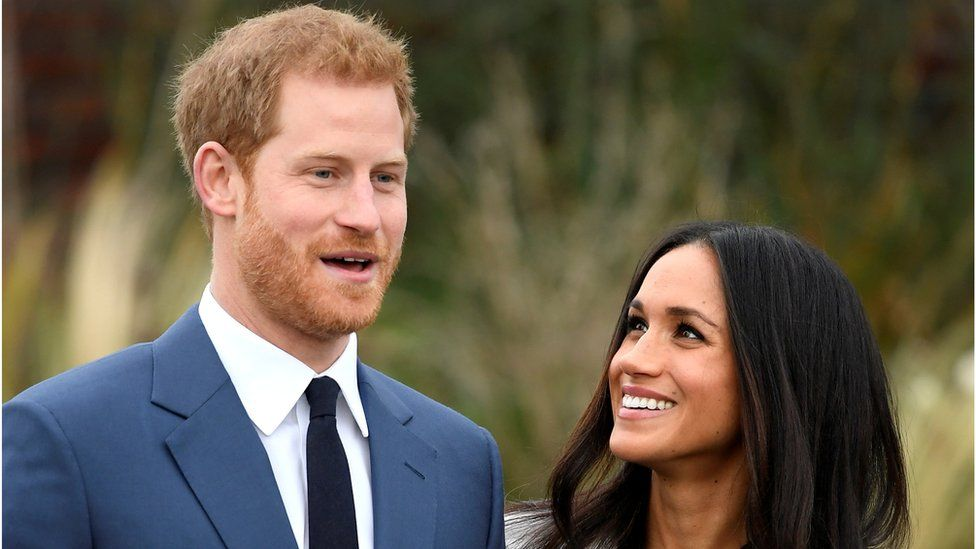 Harry and Meghan announcing their engagement