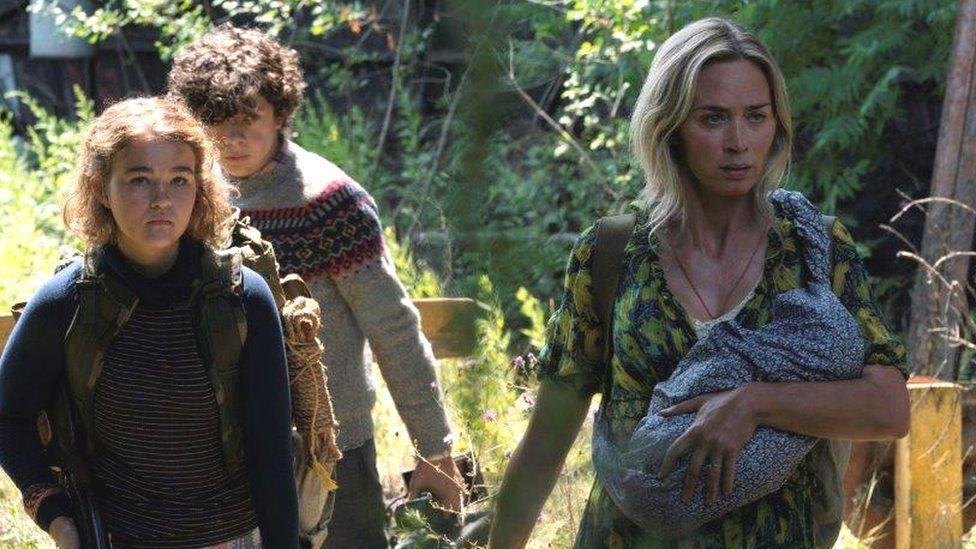 Millicent Simmonds, Noah Jupe and Emily Blunt in A Quiet Place Part II