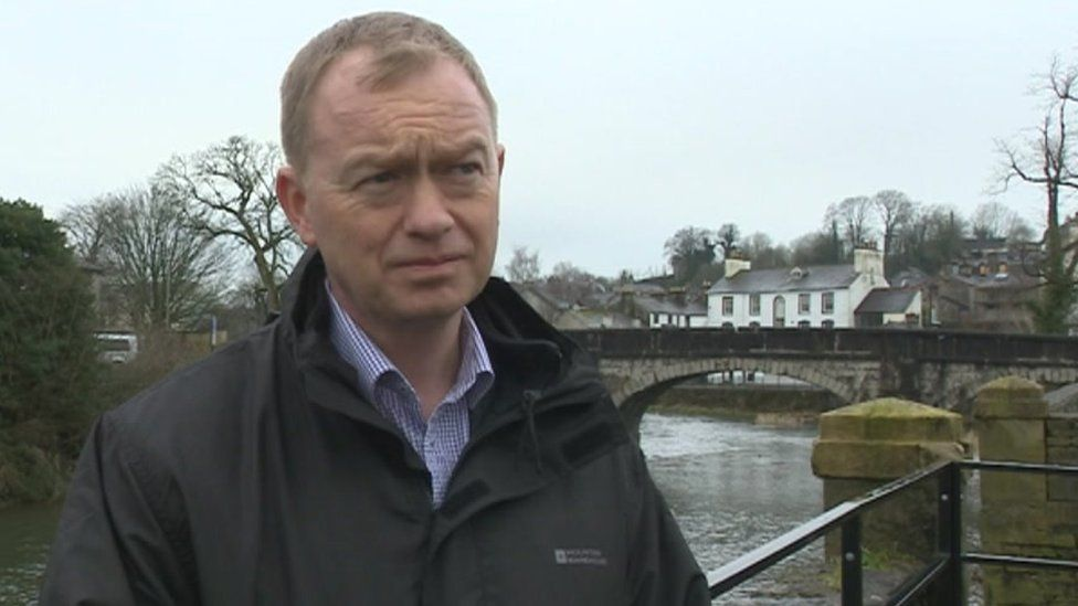 Tim Farron speaking to the BBC