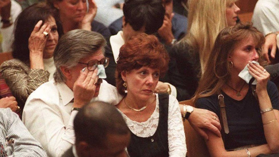 Juditha Brown, the mother of Nicole Brown Simpson (far left), Ron Goldman's father Fred, step-mother Patti, and sister Kim Goldman (right)