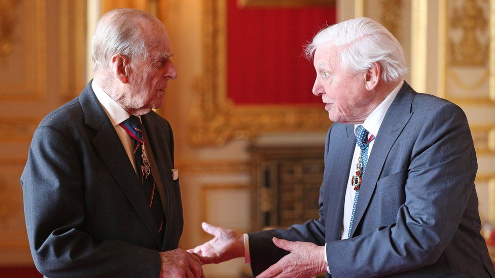 Prince Philip talking to Sir David Attenborough
