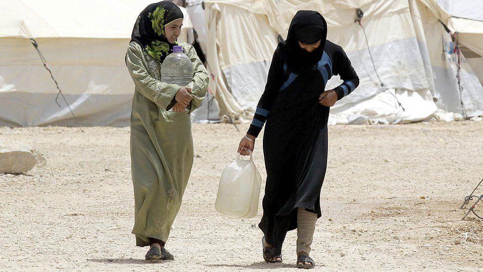 Syrian refugees in the northern Jordanian Zaatari refugee camp