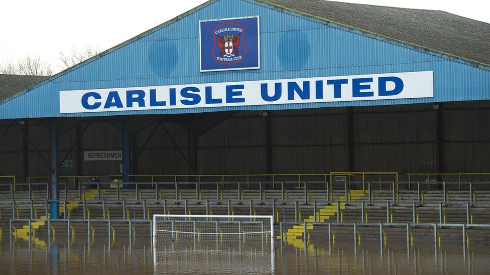 Flood water covers the pitch at Carlisle United