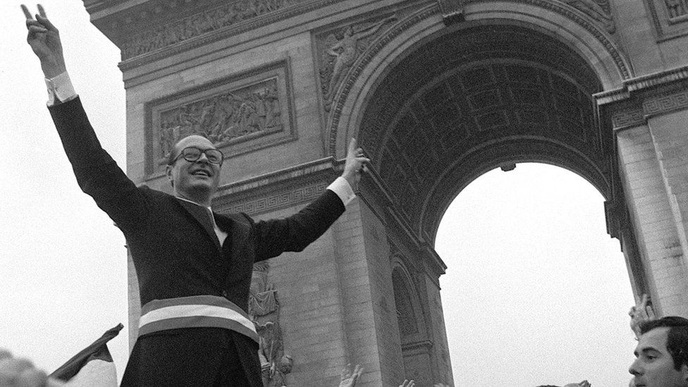 Chirac celebrates his election as mayor of Paris in March 1977