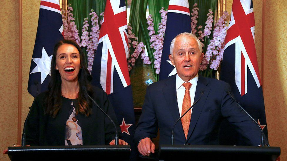 New Zealand Prime Minister Jacinda Ardern and Australian Prime Minister Malcolm Turnbull during a news conference in Sydney, Australia, November 5, 2017