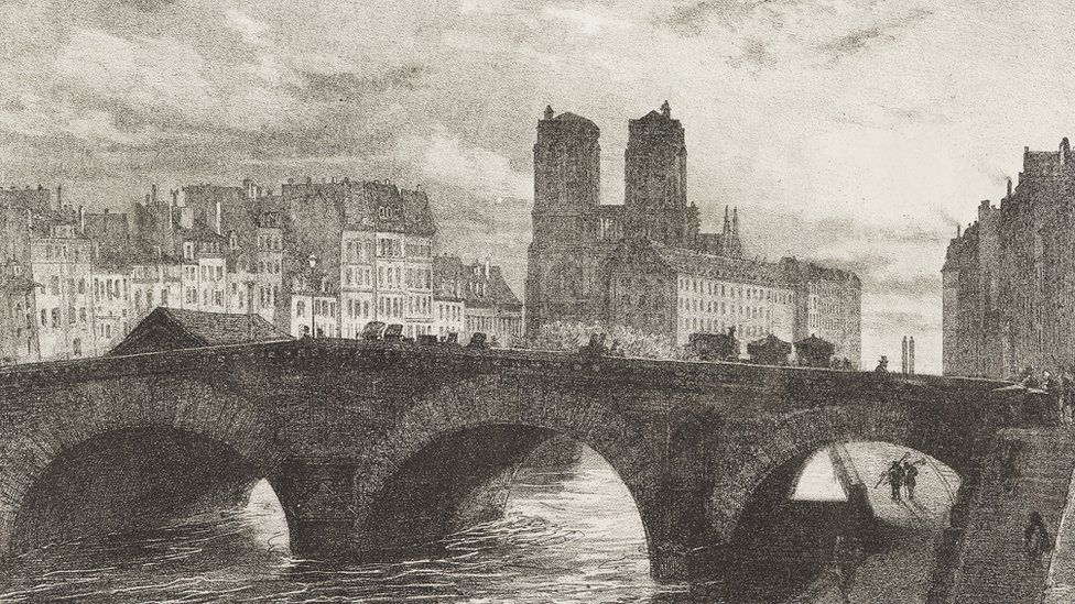 1857 drawing of NOtre Dame