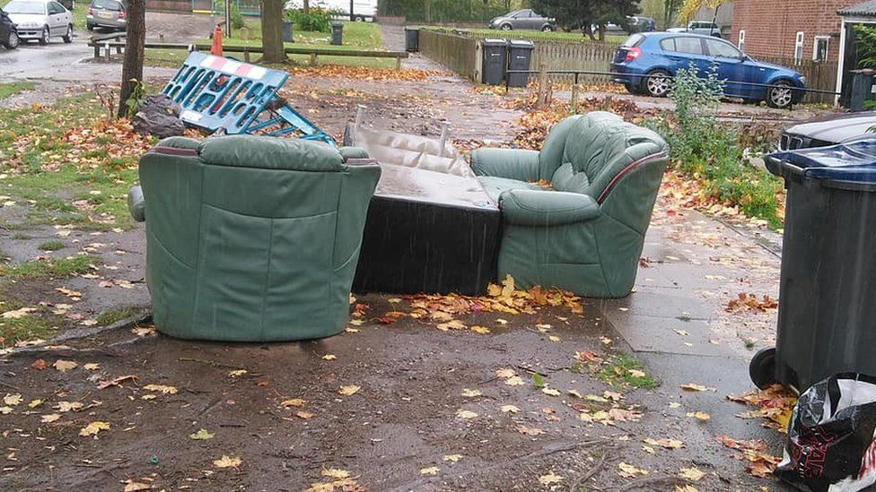Sofas dumped on the pavement