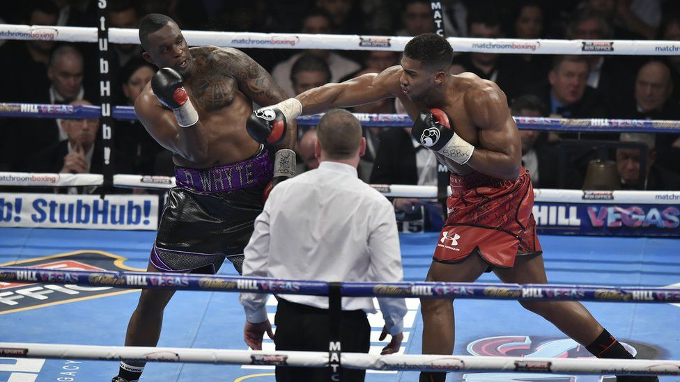 Dillian Whyte fighting Anthony Joshua at London's O2 arena in 2015