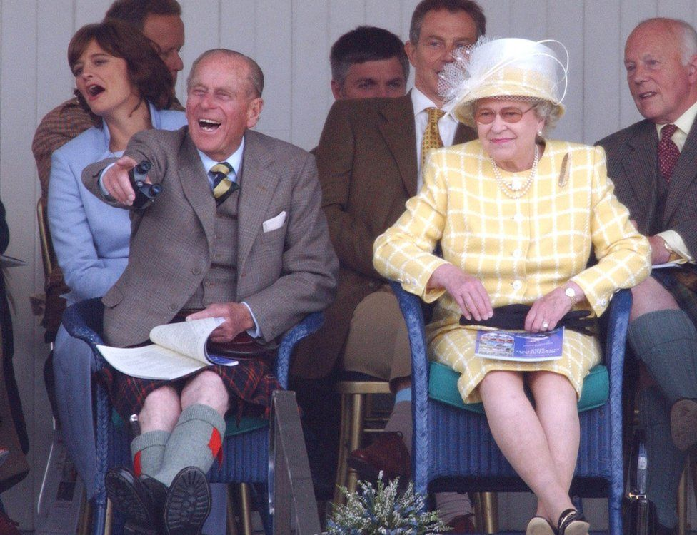 The Queen And The Duke Of Edinburgh, Prime Minister Tony Blair & Wife Cherie Attend The 2003 Highland Games In Braemar, Scotland.