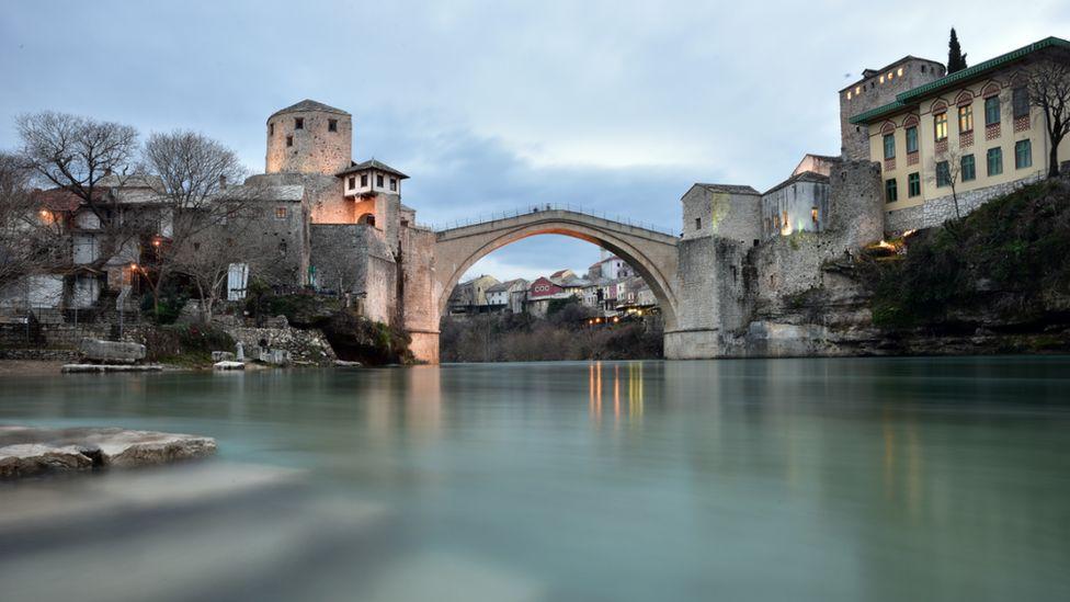Restored bridge in Mostar, Bosnia, 2018